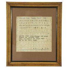 Sampler Cross Stitch Antique Signed Elizabeth Funks 1814, Philadelphia Frame