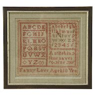 Sampler Hand Stitched Antique, signed Martha Storrs 1843, Modern Frame