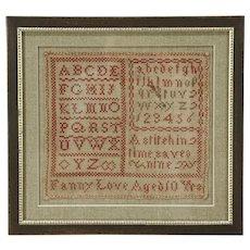 Sampler Hand Stitched Antique, signed Martha Storrs 1843, Modern Frame
