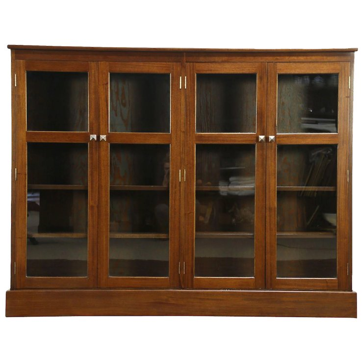 Mahogany 1930 Vintage Library Bookcase, 4 Doors, Adjustable Shelves - Mahogany 1930 Vintage Library Bookcase, 4 Doors, Adjustable Shelves