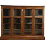 Mahogany 1930 Vintage Library Bookcase, 4 Doors, Adjustable Shelves