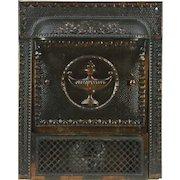 Fireplace Insert, 1900 Antique Victorian Architectural Salvage Iron with Cover