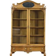 Victorian Oak 1900 Antique Carved Library Bookcase, Wavy Glass Doors