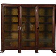 Triple Mahogany 1910 Antique Library Bookcase, Wavy Glass Doors