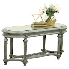 Carved & Painted Louis XVI Style Oval Bench or Coffee Table