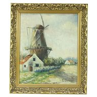 Windmill Scene, Original Oil Painting, Signed Demaegdt 1934