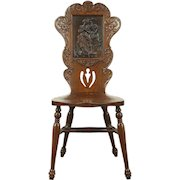 Victorian Oak Antique 1900 Chair, Leather Panel of Courting Couple