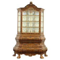 Dutch Baroque Burl Carved Bombe China or Curio Display Cabinet, 1940's Vintage