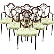 Set of 6 Georgian Design Shield Back Vintage Dining Chairs, New Upholstery