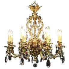 Bronze Finish 12 Light Vintage Chandelier, Cut Crystal Prisms