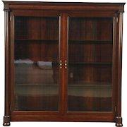 Empire 1900 Antique Mahogany Classical Library Bookcase, Wavy Glass Doors