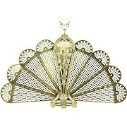 Peacock Fan & Dancer Brass Vintage Folding Fireplace Screen