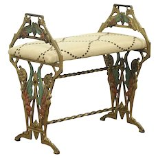Art Deco 1925 Antique Original Painted Iron Bench, Winged Figures New Upholstery