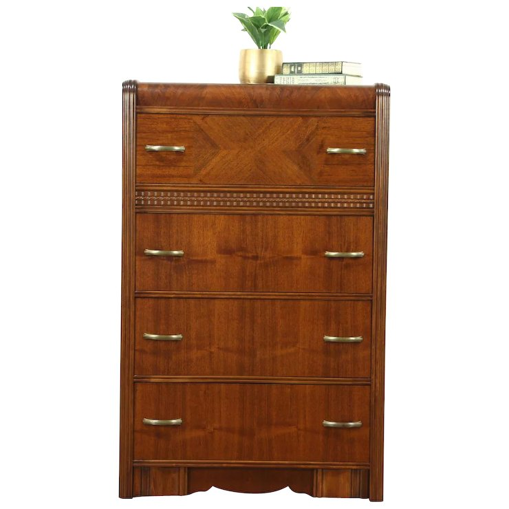 Art deco period furniture 1920s Art Deco Waterfall 1935 Vintage Tall Chest Or Dresser Harp Gallery Antique Furniture Ruby Lane Ruby Lane Art Deco Waterfall 1935 Vintage Tall Chest Or Dresser Harp Gallery