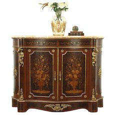 Rosewood Marquetry Console Cabinet, Angel Cherub Mounts, Marble Top, Italy