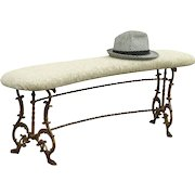Curved Antique 1910 Iron Bench with Paw Feet, Original Paint, New Upholstery