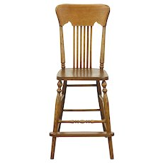 Oak Antique 1910 Youth Dining Chair with Footrest