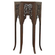 Teak Hexagonal Antique Anglo Indian Table, Plant Stand, Pedestal, Carved Birds,