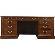 Traditional Vintage Custom Walnut Executive 6' Office or Library Desk, Leather