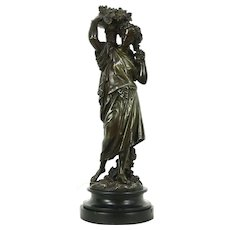 Bronze Antique Sculpture of Roman Young Woman with Grapes, Signed Boyer