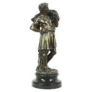 Bronze Antique Sculpture of Roman Farmer in Tunic with Wheat, Signed Boyer