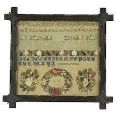 Needlepoint Sampler, Beadwork, Signed CB 1840, Carved Pine Frame