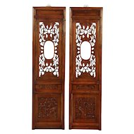 Pair of Architectural Salvage Carved Chinese Panels, Garden Scenes
