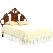 Baroque Carved King or Queen Size Cherry Headboard, Hand Painted & Signed