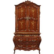 Baroque Carved Cherry Vintage Armoire Chifferobe, Hand Painted Signed Montalbano