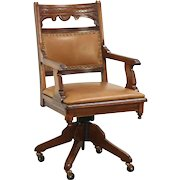 Victorian Eastlake Antique Swivel Desk Chair, Signed Johnson Pat 1887 Leather