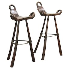 Pair of Primitive Hand Hewn Ash & Wrought Iron Asian Stools