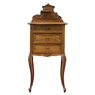 French Antique Carved Walnut Nightstand or Pedestal, Rouge Marble Top