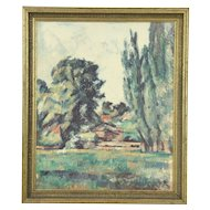 Oil Painting on Canvas after Cezanne, Landscape with Poplars