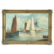 Flemish Harbor Scene with Sailing Ships Antique Original Oil Painting, Signed