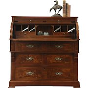 Victorian Antique Walnut  & Burl Cylinder Roll Top Secretary Desk, Leather Top