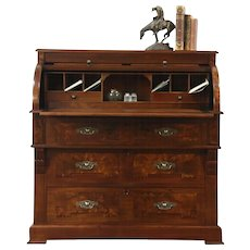 Victorian Antique Walnut  & Burl Cylinder Roll Top Secretary Desk, Leather Top