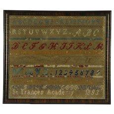 Sampler Antique Hand Stitched Signed Sarah Woodland St. Francis Academy 1893