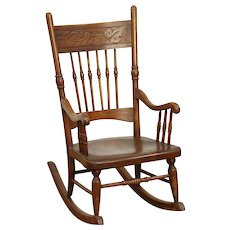 Victorian Rocking Chair Press Carved Antique Child Size Rocker