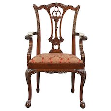 Georgian Chippendale Style Carved Desk, Dining or Occasional Chair