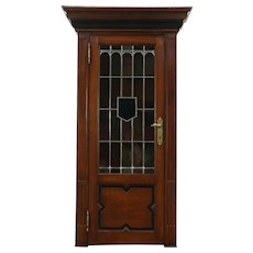 Oak Carved Antique 1890 Bookcase, Leaded Stained Glass Door, Belgium