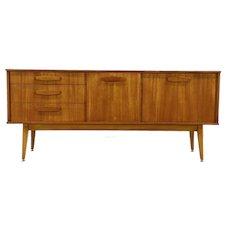 Midcentury Modern 1960's Teak Sideboard, Bar Cabinet or TV Console Signed Burley