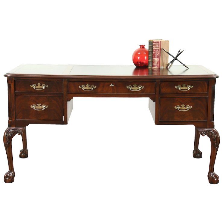 Georgian Style Gany Library Writing Desk Claw Ball Feet Signed Hekman