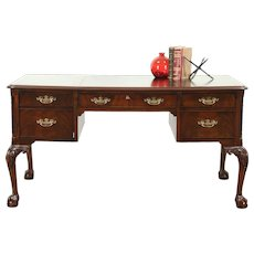 Georgian Style Mahogany Library Writing Desk, Claw & Ball Feet, Signed Hekman