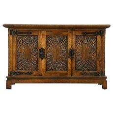 Grapevine Carved Oak Vintage TV Console Cabinet, Spain