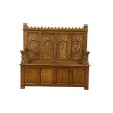 Gothic Oak Vintage Hall Bench with Storage, Carved Medieval Figures, Holland