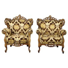 Pair of Baroque Style Large Carved Vintage Chairs, Italy