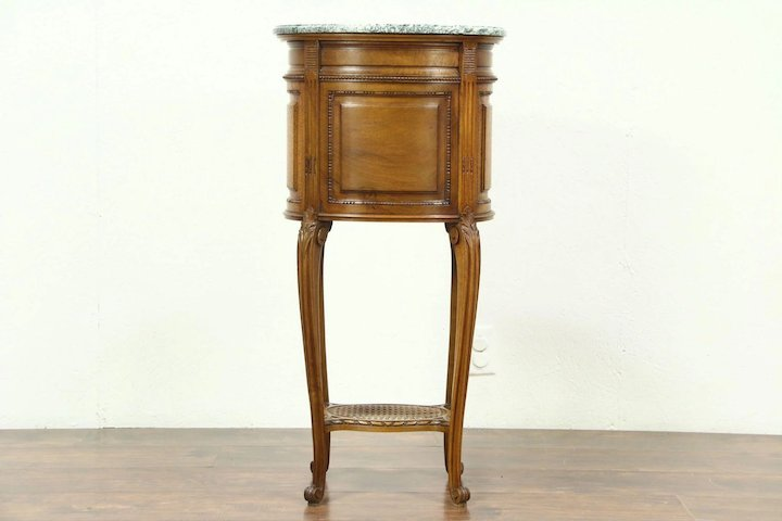 Oval Carved Antique Bedside Commode Table or Nightstand Marble Top