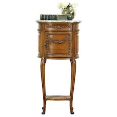 Oval Carved Antique Bedside Commode, Table or Nightstand, Marble Top, France