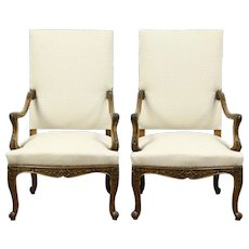 Pair 1930's Large Vintage Carved Upholstered Chairs, France