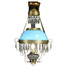 Victorian Antique Hanging Lamp or Chandelier, Blue Art Glass Shade, Electrified